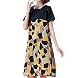 Bfmyxgs Literary Fashion Stitching Cotton and Linen New Print Dress In The Long Section