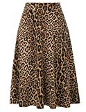 Damen Casual Hohe Taille Baumwolle Stretchy A-Line Rock Leopardenmuster XX-Large