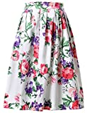 Rock Damen Knielang Party Dress Summer Dress Blumen Dress L CL6294-3