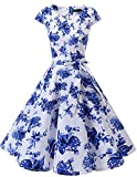 Dresstells Damen Vintage 50er Cap Sleeves Rockabilly Swing Kleider Retro Hepburn Stil Cocktailkleid White Blue Flower L