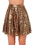Weyeei Damen Mini Rock Pailletten Party A-Linie Clubwear Rocks (Gold, XL)