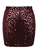 PrettyGuide Damen Kurz Pailletten Rock Stretchy Glitzer Bodycon Mini Rock Clubwear S Burgund