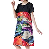 Bfmyxgs New Literary Fashion Stitching Cotton and Linen Print Dress In The Long Section