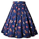 DresseverBrand Damen Rockabilly Rock A Linie Retro Rock Midi Swing Röcke Birds Small