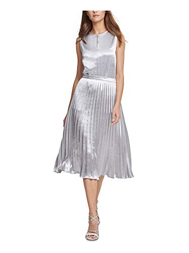 DKNY Womens Pleated Metallic Midi Skirt Silver 10
