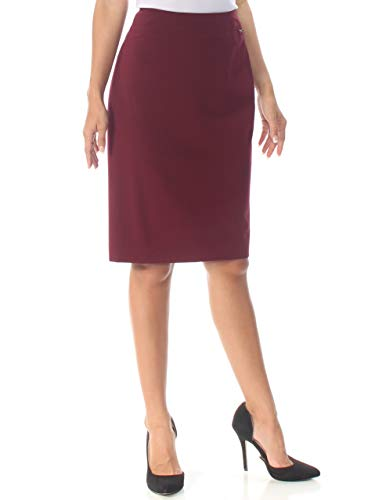 DKNY Womens Solid Knee-Length Pencil Skirt Red 0