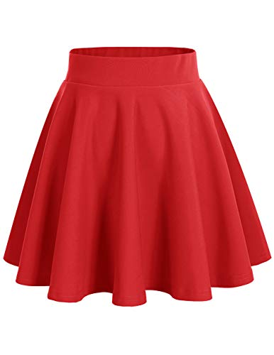 bridesmay Damenrock Basic Solid Vielseitige Dehnbaren Informell Minikleid Retro Mini Rock Faltenrock Red XL