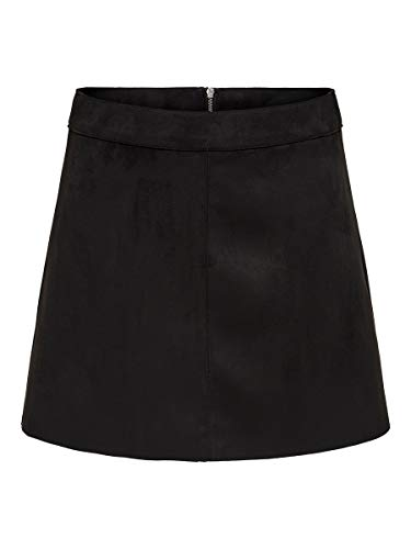 ONLY Damen ONLLINEA Faux Suede Bonded Skirt CC OTW Rock, Black, 34