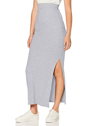 Amazon-Marke: MERAKI Damen Slim Fit Maxi-Rock mit Feinripp, Grau (Grey Marl), 34, Label: XS