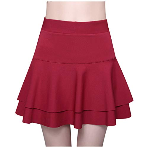 Eaylis Damen Kleid Mode Sexy Rock Elastic High Waist Sicherheitshosenrock Solide Lässige Double Layer Base Frauen Dress