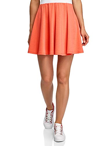 oodji Ultra Damen Ausgestellter Mini-Rock, Orange, DE 42 / EU 44 / XL