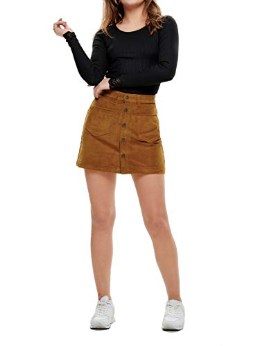 ONLY Damen Onlamazing Hw Corduroy Skirt PNT Noos Rock, Braun (Rustic Brown Rustic Brown), 40 (Herstellergröße: L)