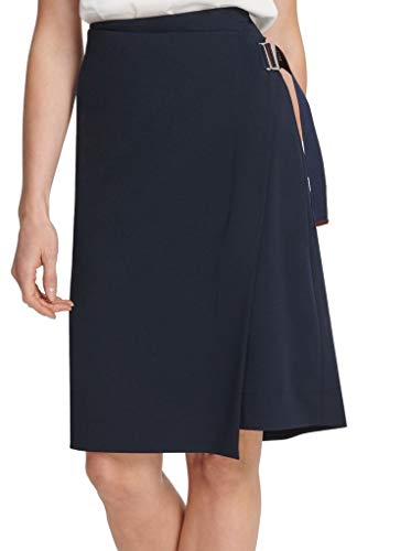 DKNY Womens Asymmetrical Business Wrap Skirt Navy 2