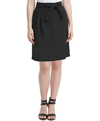 DKNY Womens Textured Pleated A-Line Skirt Black 8