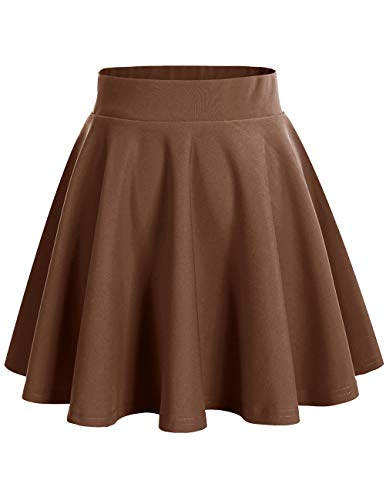 bridesmay Damenrock Basic Solid Vielseitige Dehnbaren Informell Minikleid Retro Mini Rock Faltenrock Chocolate XL