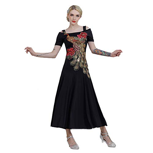 GXFXLP Professionelle Nationale Standard - Tanzkleider Für Damen Great Peacock Trading Dance Costume Costume Tango Walzer Ballsaal Salsa Kleid Tanzbekleidung,Schwarz,S