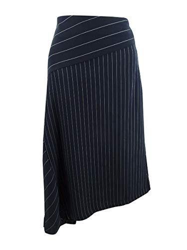 DKNY Women's Asymmetrical Striped Skirt (Navy, 6)