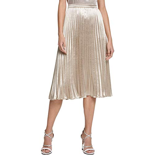DKNY Womens Pleated Shimmer Midi Skirt Gold 14