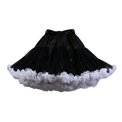 PhilaeEC Frauen Tüll Petticoat Tutu Party Multi-Layer Puffy Cosplay Tanz Rock(schwarz+Weiß)