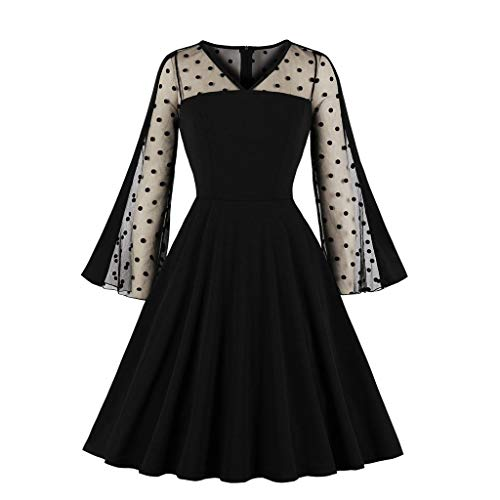 URSING Damen Retro Vintage Drucken Gothic Steampunk Röcke Abendkleid Swing Kleid Karneval Party Rüschen Rock Spitze Punk Kleid Cocktailrock Cosplay Kostüm Schulter Oberteil Fasching Abendkleid