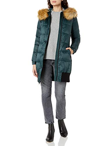 7 For All Mankind Women's Blouson Body Down Coat with Detachable Faux Fur Trim, Deep Forest, X-Small