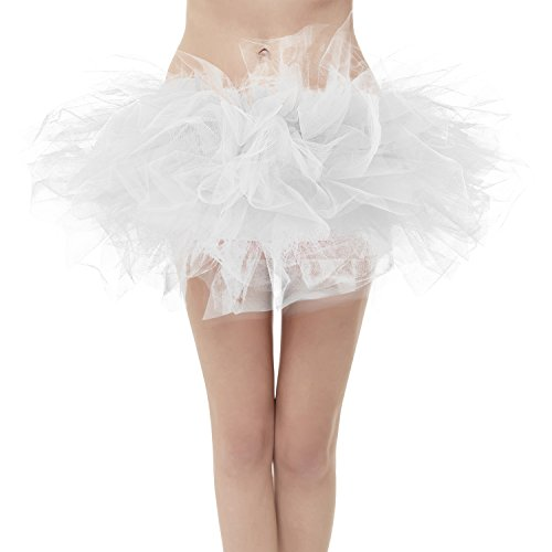 GirstunmBrand Damen 50er Mini Tüll Tutu Puffy Ballett Bubble Rock Weiß-Standard Size