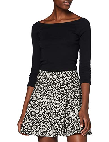 Superdry Womens Riley Skater Skirt, Charcoal Leopard, S (Herstellergröße:10)