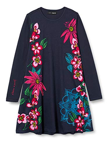 Desigual Girls Vest_Wildflower Casual Dress, Blue, 11/12