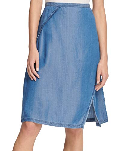 DKNY Womens Denim Light Wash Midi Skirt Blue 4