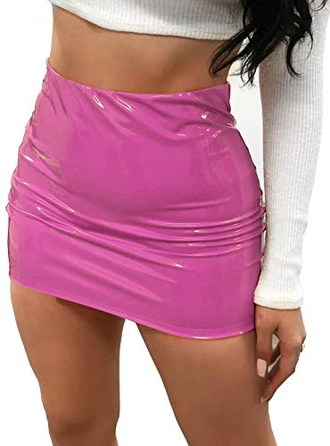 CiKiXZ Damen Lederrock Wetlook PU Leder Bleistiftrock Figurbetont Bodycon Mini Rock Hohe Taille Leather Skirt Hüftrock (Rosa, S)