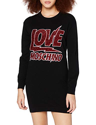 Love Moschino Womens Long Sleeve Knitted Lightning Rock Logo Casual Dress, Multicolor, 38