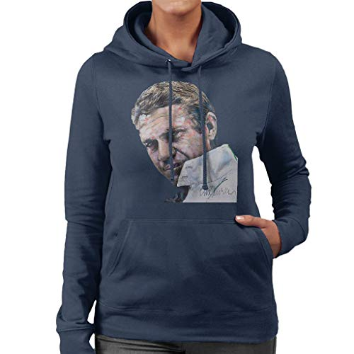 VINTRO Sidney Maurer Original Portrait of Steve McQueen Women's Hooded Sweatshirt