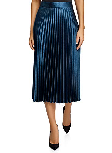 oodji Collection Damen Langer Plissierter Rock, Blau, DE 40 / EU 42 / L