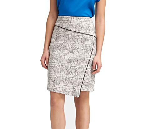 DKNY Womens Office Wear Above Knee Pencil Skirt Black-Ivory 10