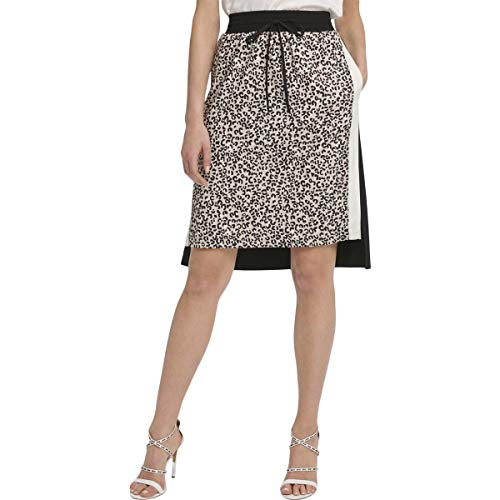 DKNY Womens Printed Two Tone A-Line Skirt Black L