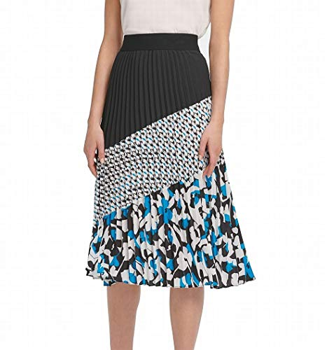 DKNY $89 Womens New 0340 Black Color Block Midi Pleated Wear to Work Skirt S B+B