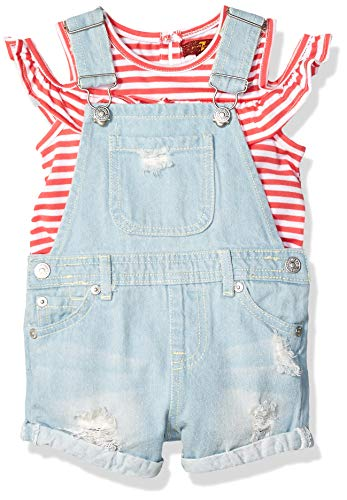 7 For All Mankind Mädchen Striped Ruffle Top and Short-All Rock-Set, Calypso Coral Stripe/Light Wash, 2 Jahre