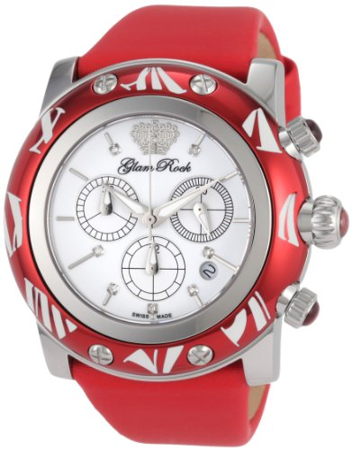 Glam Rock GR10514 SMALTO Collection Diamant Chronograph Rot Techno Armbanduhr