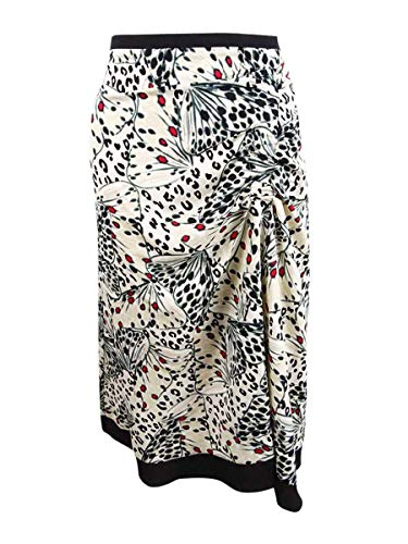 DKNY Womens Printed Gathered Midi Skirt Tan 6