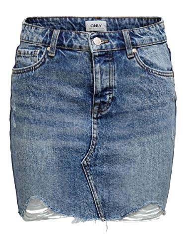 ONLY Damen Jeansrock Kurzer 38Light Blue Denim
