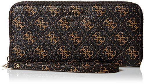 Guess Damen Logo Rock Large Zip Around Wallet Geldbörse, braun, Einheitsgröße