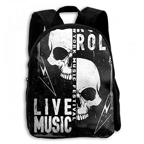 ADGBag Vintage Rock Music Guitar Skull Student School Backpacks Canvas Book Bag Casual Daypack Travel for Children Kinderrucksack Rucksack