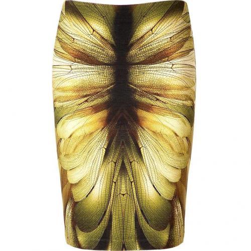 McQ Alexander McQueen Beige/Green/Brown Printed Skirt