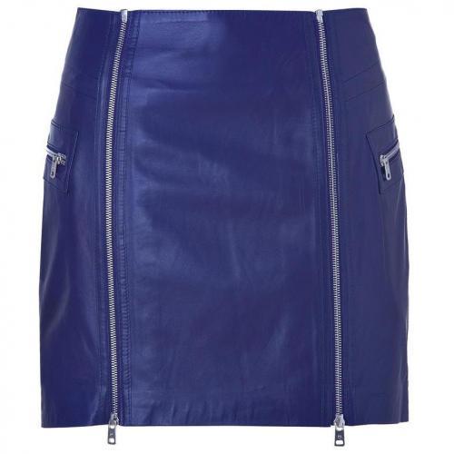 McQ Alexander McQueen Cobalt Blue Leather Zip Detailed Mini-Skirt