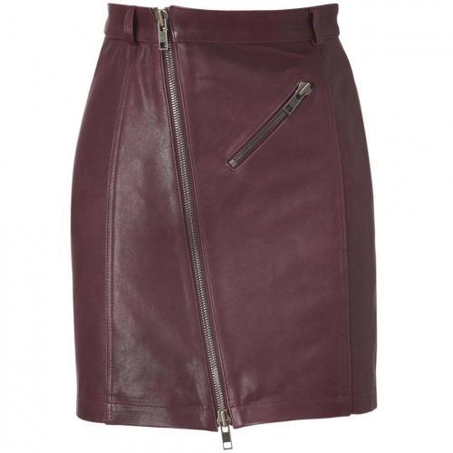 McQ Alexander McQueen Oxblood Zip Leather Pencil Skirt