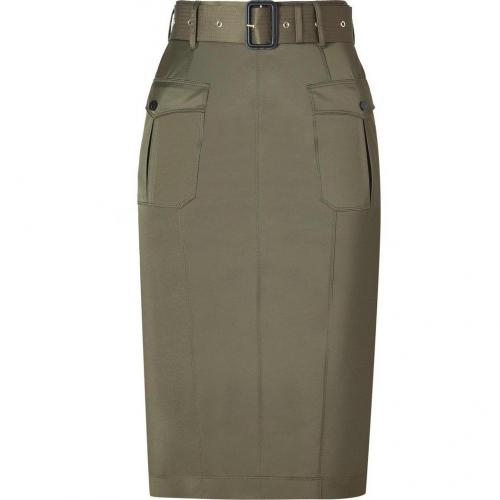 Aniseed Green Belted Cotton-Blend Pencil Skirt von Burberry London