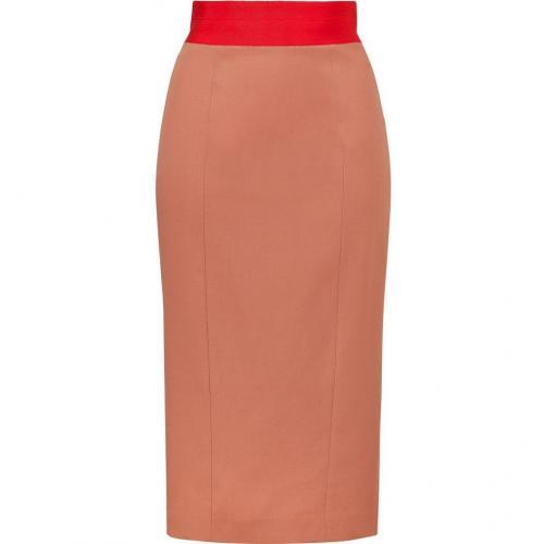 Nude Wool-Blend Pencil Skirt with Red-Orange Waist von LWren Scott