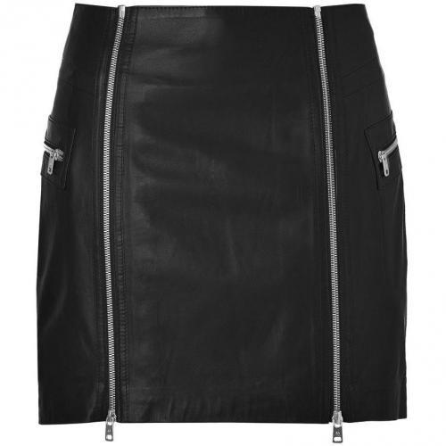 Black Leather Zip Detail Mini-Skirt von McQ Alexander McQueen