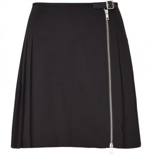 Black Pleated Front Zip Skirt von McQ Alexander McQueen