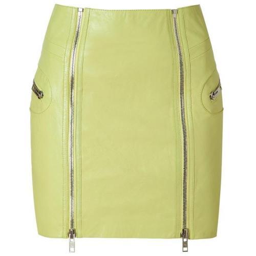 Bleached Neon Leather Skirt von McQ Alexander McQueen